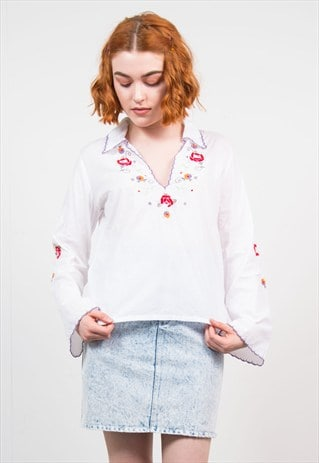 VINTAGE EMBROIDERED FLOWER HIPPIE COLLARED TOP