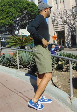 90S CLASSIC HIGH RISE PLEATED GREEN SHORTS 32