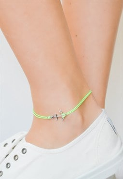 Silver anchor anklet, yellow dainty ankle bracelet nautical