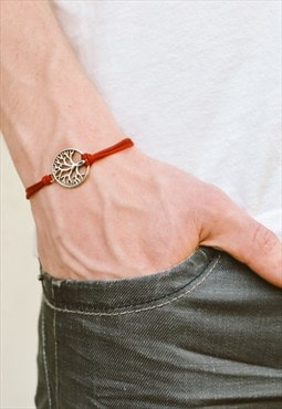 Silver tree of life bracelet for men, red,yoga mens bracelet