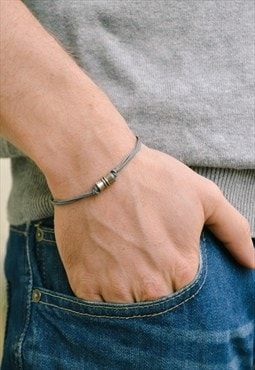Silver tube bracelet for men, gray, minimalist mens bracelet