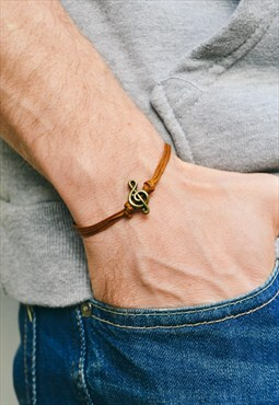 Men's bracelet brown bracelet for men music note treble clef