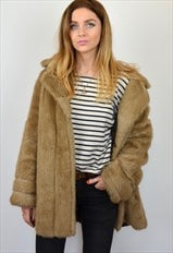 Vintage 1960s Light Beige Brown Faux Fur Coat