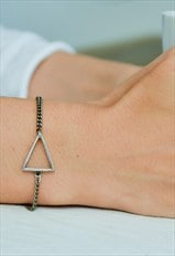 Triangle bracelet, silver chain with silver triangle charm