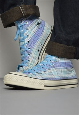 Vintage 90s Converse Blue & White Checked Hi-Tops Retro