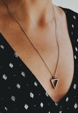 Triangle necklace silver tone chain necklace, geometric gift