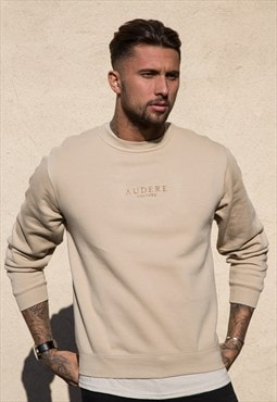 LUX Sand Embroidered Sweater