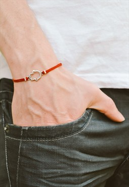 Men's bracelet, silver Hamsa charm, red cord, gift for men