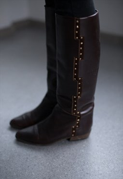 Vintage 70's Brown Stars Decorated Leather Boots