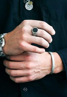 Carpe Diem Cool Silver Signet Mens Rings