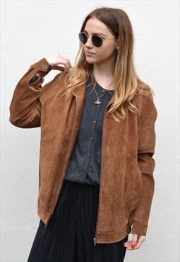 Vintage 90s Light Tan Brown Suede Oversized Jacket