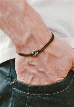 Infinity bracelet for men, silver infinity bead brown cord