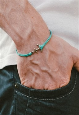 Anchor bracelet for men, silver anchor and turquoise cord