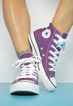 Vintage 90s Converse Purple Hi-Tops Trainers Sneakers Chucks