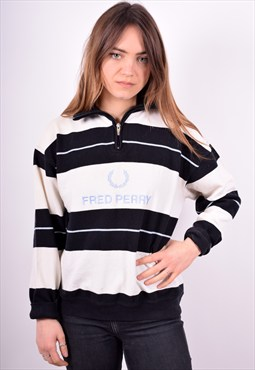 Fred Perry Womens Vintage Jumper Sweater Size 16 White 90's