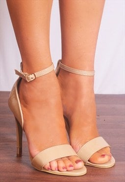 Nude Barely There Ankle Straps Peep Toes Strappy Sandals