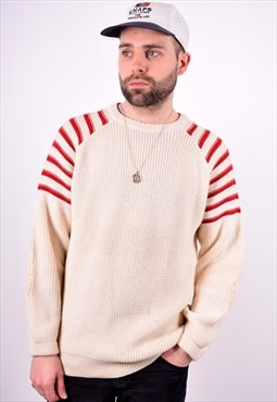 Mens Vintage Jumper Sweater Large Beige 90's