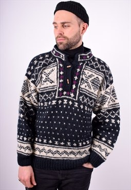 Mens Vintage Nordic Jumper Sweater Large Multi 90's