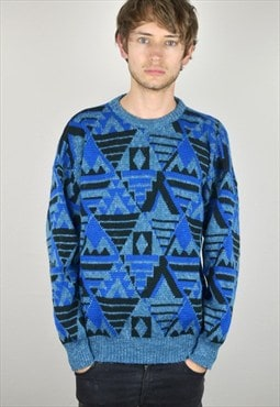 90s Vintage Blue Black & Aqua Printed Knitted Jumper