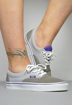 Vintage 90s VANS Grey & Purple Skate Shoes Trainers Sneakers