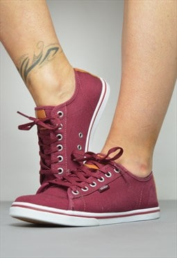 Vintage 90s Vans Burgundy Skate Shoes Trainers Sneakers