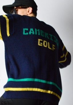 Vintage 80s Navy Blue Knit Wool Blend Cambridge Golf Jumper