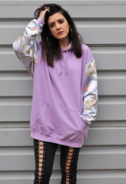 oversize 90's lilac Chinese silk sleeve hooded sweatshirt
