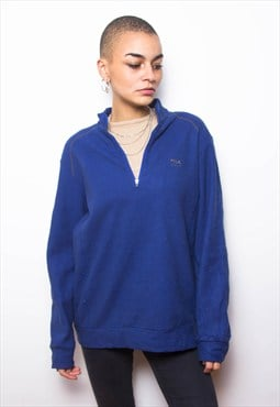 Vintage 90s Fila Blue Sports Polo Sweatshirt ID:3139