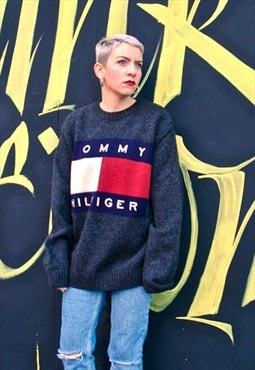 90s Vintage Tommy hilfiger big logo grey wool jumper