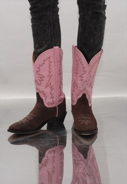 Vintage 90' Amazing Suede and Leather Pink Cowboy Boots