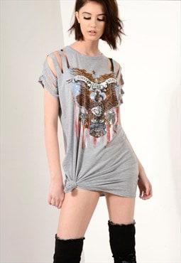 Grey distressed sleeve t-shirt dress