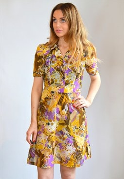 Vintage 70s Yellow, Purple & Brown Pattern Mini Dress
