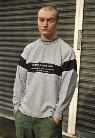 VINTAGE FILA SPELL OUT LOGO SWEATER
