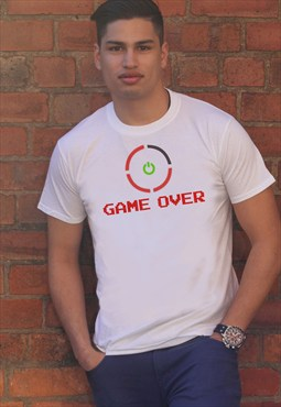 Mens White Tee 'GAME OVER' Red Ring Funny Print TS622