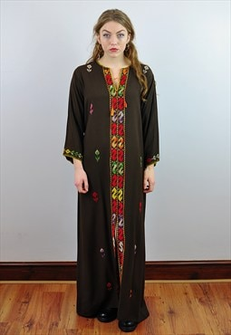 Vintage 70's Embroidered Brown Boho Hippy Kaftan Maxi Dress