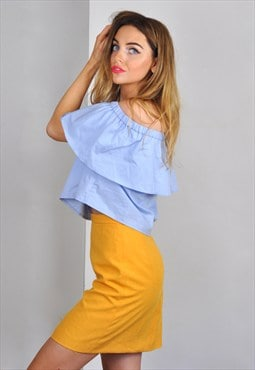 Vintage Yellow High Waisted Pencil Mini Skirt
