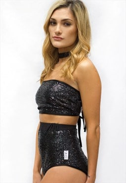 Black Sequin High Waisted Peakini bottoms