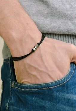 Bracelet for men, silver tube black cord, mens bracelet