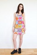 Vtg 90's Moschino Bold Floral grunge strap Dress