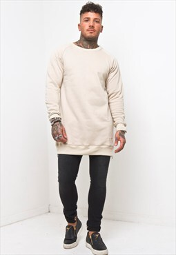 Liquor n Poker - Curved Hem Zip Sweater in Beige