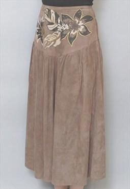 Vintage 1970's Soft Brown Floral Pattern Midi Skirt