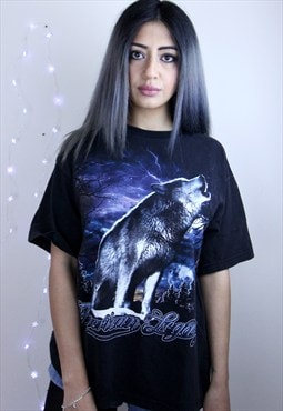 Vintage Double Sided Glitter Wolf Moon Tee