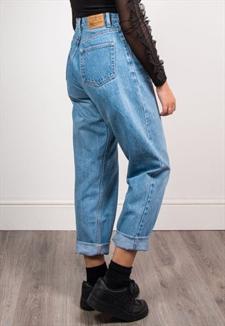 90'S VINTAGE BLUE DENIM HIGH WAIST MOM JEANS