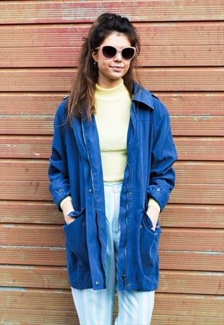 VINTAGE 90S BLUE HOODED PARKA