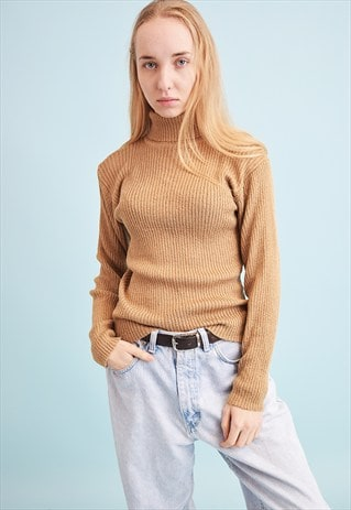 70'S RETRO RIBBED KNIT TURTLENECK TEEN JUMPER TOP