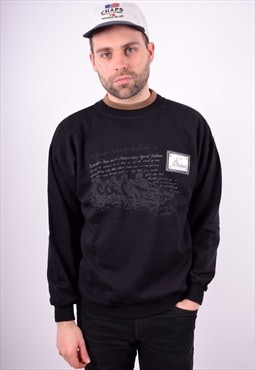 Mens Vintage Sweatshirt Jumper Medium Black 90's