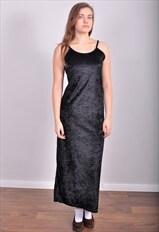 Vintage 90's velvet maxi dress in black