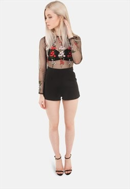 Embroidered Floral Playsuit