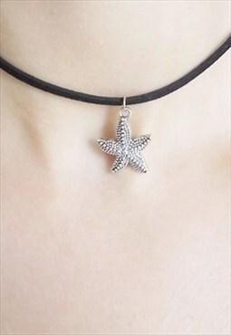 black suede starfish choker