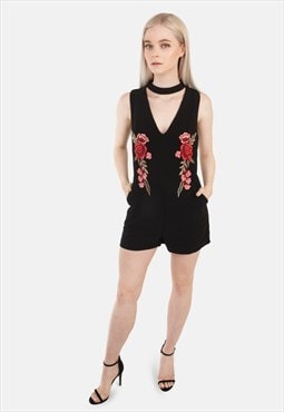 Embroidered Choker Neck Playsuit